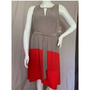 DKNY Jeans Red/Taupe Color Block Hi-Lo Dress XL